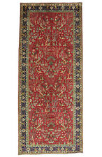 Vintage Floral Oriental Rug, 5'x12', Red/Blue, Hand-Knotted Wool Pile