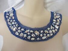 BLUE  Scoop Neck Large Acrylic Beads Collar Applique