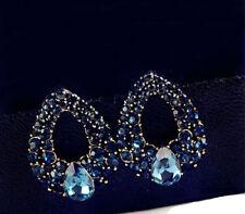 Lady Charm Fashion Crystal Water Drops Blue Rhinestone Stud   Dangle Earring New