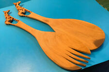 Vtg Collectible Tourists Carved Wooden Utensil Serving Set Giraffe Zoo Animal