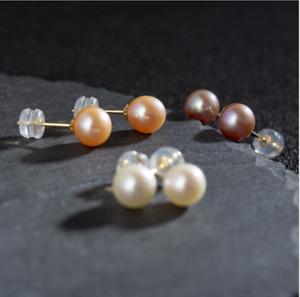 14K Gold 3/4/5/6mm ROUND Freshwater Pearl Stud Earrings 925 Sterling Silver Set