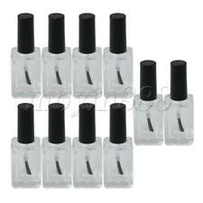 10pcs 16ml Black Transparent Round Empty Nail Polish Glass Bottle Vials