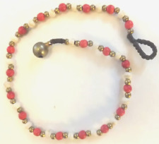 white, brass beads *Bn* lovely anklet, 27.1cm Red & White Bead Ankle Chain, red,