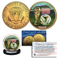 FRANCE CHAMPIONS - 2018 FIFA WORLD CUP RUSSIA 24K GOLD JFK Half Dollar US Coin