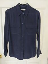 NWT Equipment Signature Silk Button Down Blouse Peacoat (navy) S