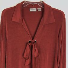 Chicos Travelers Rust Dark Red Front Bow Tie Slinky Open Front Cardigan SZ 2 L
