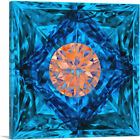 ARTCANVAS Blue Orange Princess Cut Diamond Jewel Canvas Art Print