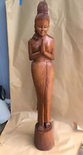 """Thai Sawasdee Lady Wood Carving Figurine - 76 1/2""""  Tall - Local Pick-Up Only"""