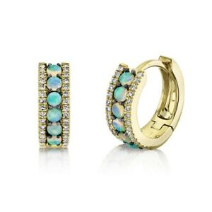 Blue Opal Diamond Huggie Earrings 14K Yellow Gold Natural 0.43 TCW Small Hoops