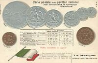VINTAGE MEXICO FLAG EMBOSSED SILVER & COPPER COINS POSTCARD - UNUSED