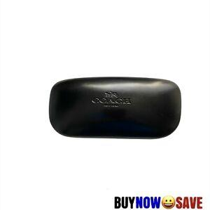 NEW Coach Leather Black Hard Clam Style Case Sunglasses Case w/ Microfiber Cloth