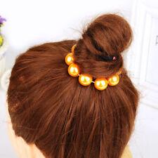 Women Gold Pearl Bead Hairband Bun Ponytail Elastic Hair Accessory Band
