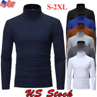 Men's Turtle Neck Thermal High Collar Slim Fit Long Sleeve Sweater Stretch Tops