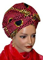 African Head Wrap Scarf Gele. Stylish Headwear Made Of Ankara Red Pink Fabric