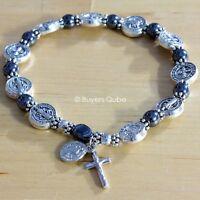 "Inspirational St. Benedict Hematite Stretch Rosary Bracelet 7.5"" Stretchable"