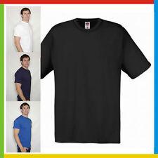 MENS T-SHIRT FRUIT OF THE LOOM ORIGINAL: 100% Cotton: Black, White + 18 COLOURS