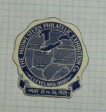 1928 Midwestern Philatelic Expo Cleveland Oh Souvenir Label Ad