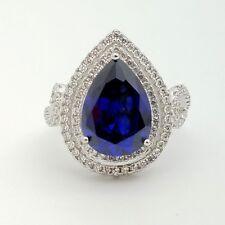 'Y' Sterling Silver 20mm Tear Drop Dark Blue Tanzanite & White Topaz Ring Size 8