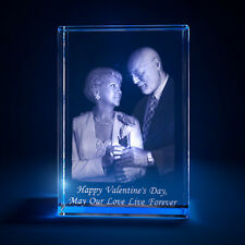3D Laser Crystal Personalized Etched Engrave Stand Valentine's Day Portrait S