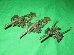 """Dinky Toys 692 5.5"""" Medium Gun & 2 693 7.2"""" howitzers some for renovation"""