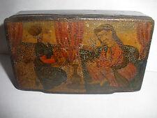 ANTIQUE 19thc PERSIAN PAPER MACHE LACQUER  BOX TWO SEATED ISLAMIC  MEN SCENE
