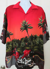 WINGO Men's Shirt Button Front Motorcycle Graphic Print Red Size XXL 2XL