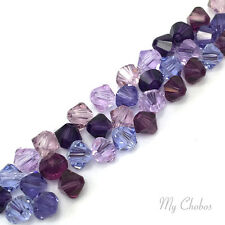 50 pcs Swarovski 5328 / 5301 3mm Crystal Xilion Bicone Beads PURPLE Colors Mix