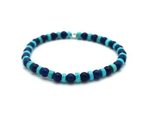 Mens Bead Bracelet Turquoise and Lapis Lazuli with 925 Sterling Silver Handmade