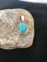 """Navajo Native American Sterling Turquoise Pendant Gift 1"""""""