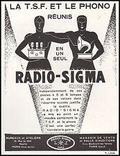 Publicité TSF Poste Radio SIGMA  photo vintage print ad  1929 - 6h