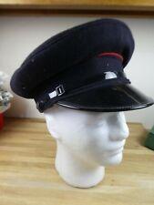 More details for vintage fire brigade peak cap, fire service black blazer officers hat / grantham