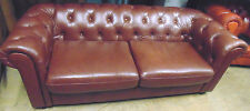 QUALITY BROWN LEATHER CHESTERFIELD THREE SEATER SOFA