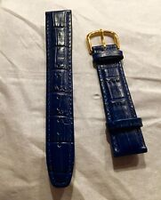 BLUE CROCO TAIL LEATHER WATCH BAND STRAP 18 MM