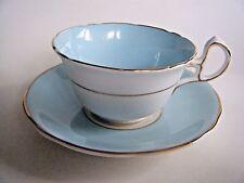 Royal Stafford Bone China Tea Cup & Saucer Blue & White With Gold Trim England