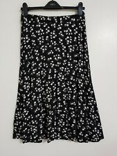 NEW Ex M&Co 12-20 Monochrome Black White Floral Print Stretchy Midi Skirt Flared