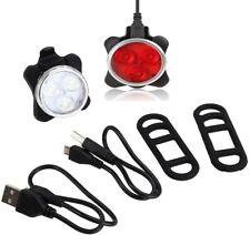 Luz de la Bicicleta Parte Delantera Trasera Cola 3 LED USB Recargable 4 Modos ES