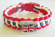 HM ARMED FORCES VETERAN PARACORD WRISTBAND WITH BADGES