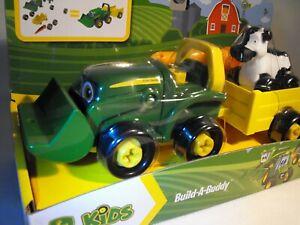 TOY FARM PLAY SET GIFT JOHN DEERE TRACTOR TRAILER FARM ANIMAL AGE 3 PLUS