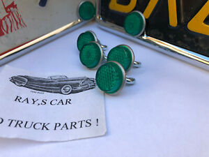 4 NEW VINTAGE STYLE GREEN REFLECTOR LICENSE PLATE FASTENERS #