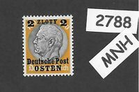 MNH / OSTEN overprint stamp 1940 Hindenburg 2 ZL German occupation Poland WWII