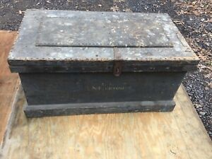 Antique Blue Painted Carpenters Tool Chest Named Folk Art Coffee Table