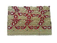 Wedding-Dresses-Zari-Work-Sari-Border-Mirror & Kundan-9YD-Trim-Sewing Lace L 176
