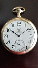 RARE 16S BALL WATCH CO TRI COLOR BROTHERHOOD OF RAILROAD TRAINMEN POCKET WATCH