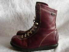 CAMPER Leather Lace-up Boots Women's Size 36 6 Cranberry Red