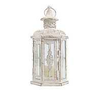 White Decorative Metal Lanterns Vintage Style Hanging Lantern Candle Holder