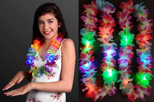 5 Leis Hawaiian LED Luau Light Up Necklaces Flashing Rave Flower Vacation Glow