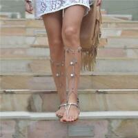 Boho Coin Tassel Barefoot Sandals Beach Anklet Chain Jewelry Ankle Bracelet shan