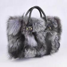 Women Shoulder Handbag Silver Fox Fur Clutch Tote Special Hobo Bag Purse Wallet
