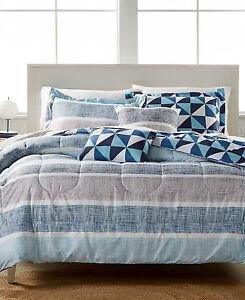 Jessica Sanders Parksdale Reversible 5 Pc FULL Comforter Set BLUE Bedding D3202