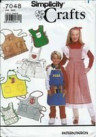 S 7048 sewing pattern child's APRONS sew Coverall Tabard Pinafore Butcher UNCUT